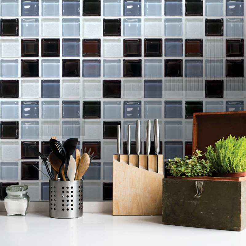 6 Pcs/set Simulation Tile Stickers Bathroom Kitchen Wall Stickers Home Decoration Living Room Non-slip DIY Creative Wallpaper