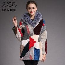 Зимнее Новое Женское пальто из овчины, теплое шерстяное пальто, Воротник из натурального Лисьего меха, женская верхняя одежда из натурального меха, куртка для стрижки овец