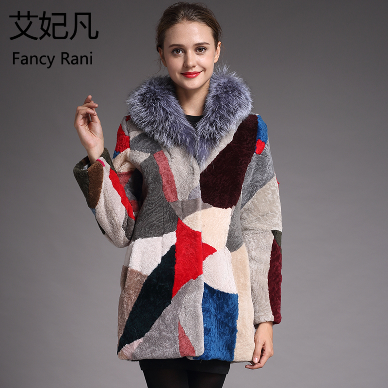 Winter New Sheepskin Coat for Women Warm Wool Coat Real Fox Fur Collar Genuine Fur Female Real Fur Outwear Sheep Shearing Jacket(China)