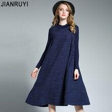 Jianruyi 2017 мм новых осенью и зимой воротник платье для женщин; Большие размеры длинное трикотажное платье
