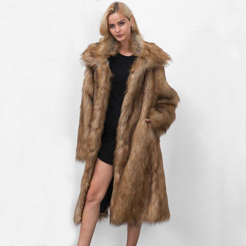 7ab0273fece ZADORIN 2019 High Street Long Faux Fur Coat Plus Size Women Lapel Long  Sleeve Furry Faux