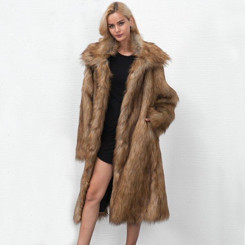 ZADORIN 2019 High Street Long Faux Fur Coat Plus Size Women Lapel Long Sleeve Furry Faux Fur Jacket Warm Overcoat Futro Damskie