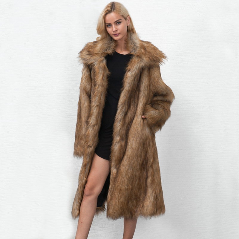 ZADORIN 2019 High Street Long fausse fourrure manteau grande taille femmes revers manches longues fourrure fausse fourrure veste chaude pardessus futro damskie