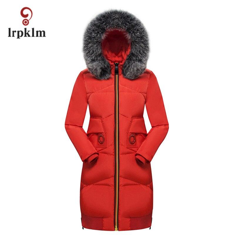 Women Fashion Slim Parkas Fur Hooded Collar Long Thick Coat Outerwear New Winter Slim Warm Jacket XXXL Red Pink Black PQ006