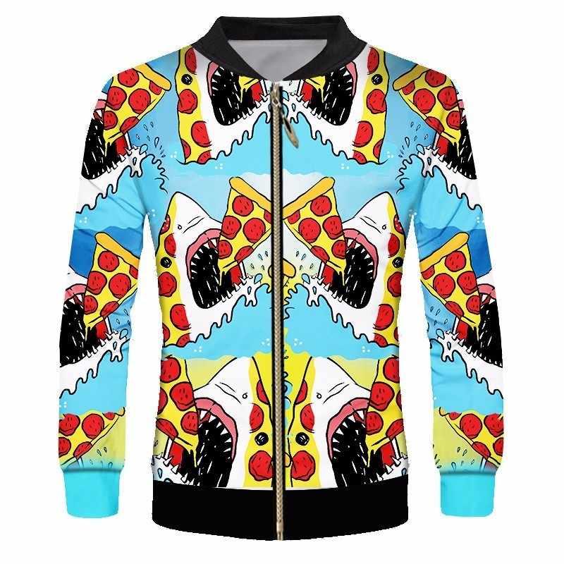 OGKB унисекс прекрасный мультфильм Забавный принт Акула съесть пиццу куртка Foodaholic пальто для будущих мам с длинным рукавом