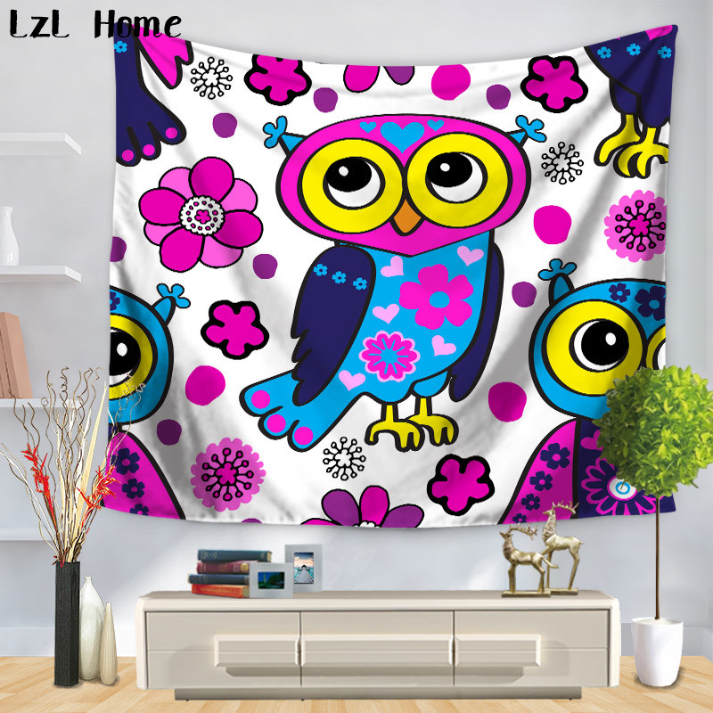 US $4 89 30% OFF|LzL Home Eco friendly Polyester Fabric Cute Owl Tapestry  Indian Bohemia Mandala Wall Hanging Beach Towel Yoga Pad Blanket Dorm-in