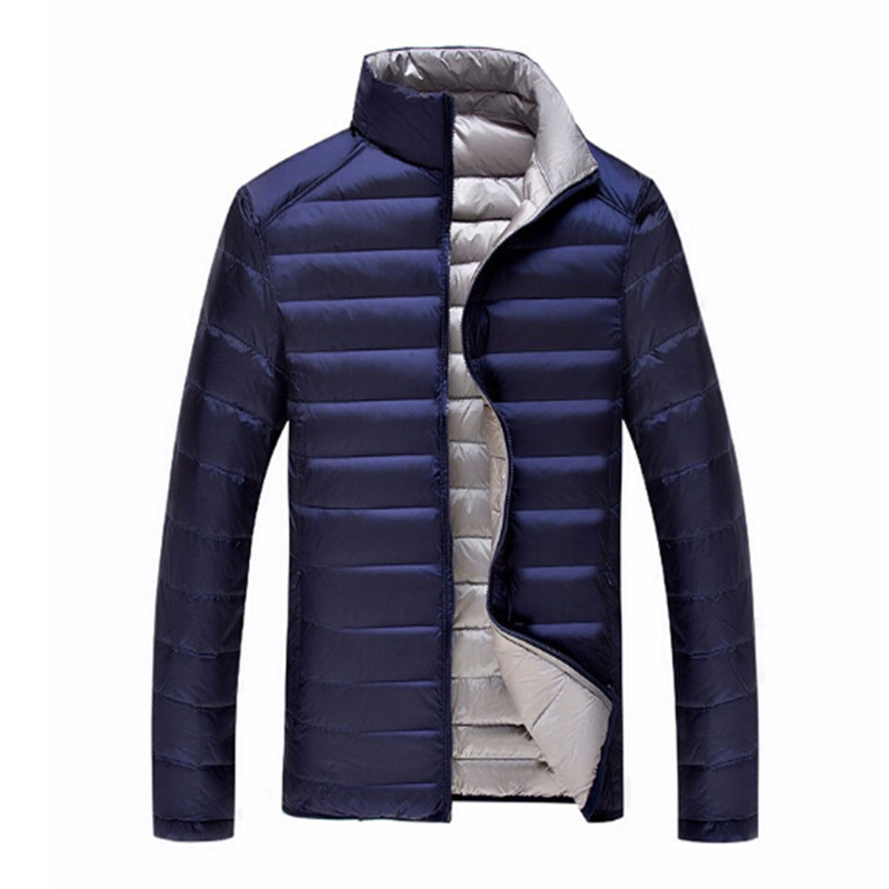ФОТО  Duck Down Jacket Men's Feather Ultralight Down Jackets Double Side Reversible Outwear Plus With Carry Bag