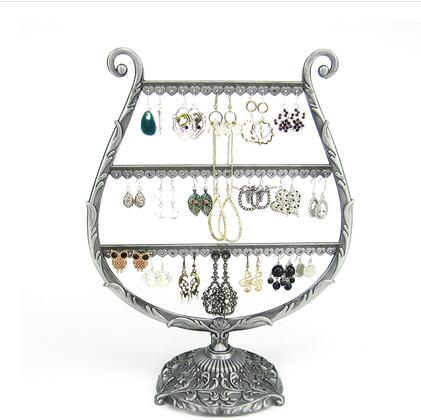 Wine Glass Jewelry Display Stand Holder Earring Display Iron Wall Frame Necklace Holder Accessories Base Storage Dro 1pc C172 in Figurines Miniatures from Home Garden