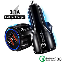 цена на Quick Charge 3.0 4.0 USB Car Charger For Iphone X XS XR  Dual USB Car Charger  QC 3.0 Fast Charging Adapter Mini USB Car Charger