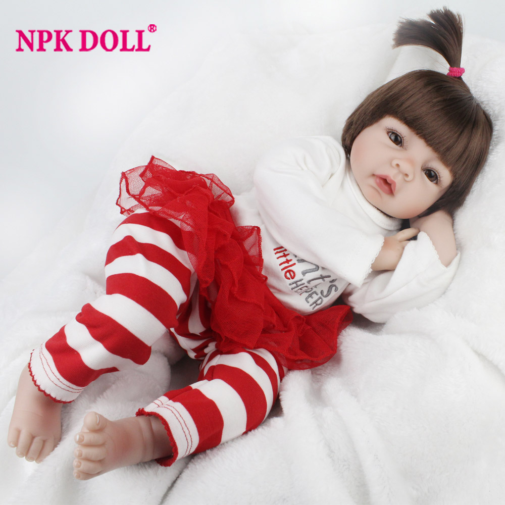 NPKDOLL 22 Inch 55CM Reborn Baby Soft Silicone Doll Reborn Suit For Children Birthday Gift 2017 Life Like Baby Reborn Toy npkdoll 22 inch 55cm silicone reborn baby dolls with implanted mohair good price playmate christmas gift for children