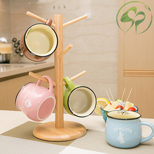 Bamboo Creative Home Kitchen Mug Cup Storage Rack Holder Wooden Drainer Organizer Gadgets