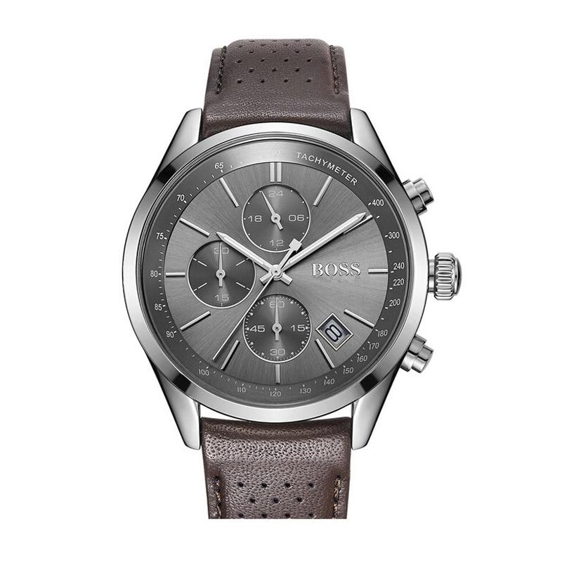 BOSS Grand Prix hommes montre avec bracelet en cuir respirant Sport Quartz montres hommes Top marque de luxe-1513476