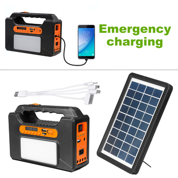 USB Charger System Solar Power Panel Generator Kit+bluetooth Radio+3 LED Bulb Light for Home Outdoor Emergency Charging Lighting 4