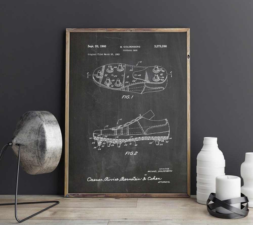 Football Shoes patent,wall artwork , posters, room decor,vintage print,blueprint, gift idea, Sports wall Decorations