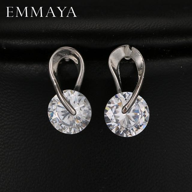 Emmaya Aaa Cubic Zirconia Stud Earrings White Gold Color Cz Stone Fashion Wedding Jewelry For