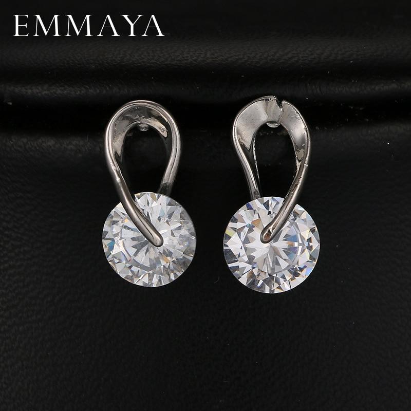 EMMAYA AAA + zircon cubique boucles d'oreilles couleur or blanc CZ pierre mode bijoux de mariage pour femmes/dame