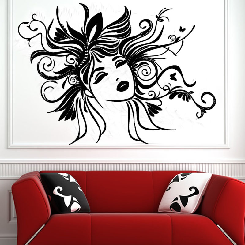 dctop sexy women wall sticker removable vinyl art design head of flower fairy wall decals home - Wall Art Design Decals