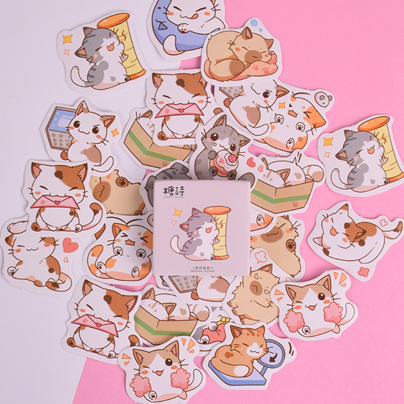 45 Pcs/box New cute cat cartoon mini paper sticker decoration DIY diary scrapbooking seal sticker kawaii stationery45 Pcs/box New cute cat cartoon mini paper sticker decoration DIY diary scrapbooking seal sticker kawaii stationery