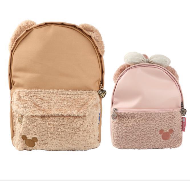 Cartoon Anime Shellie May with Soft Bowknot & Duffy Bear Plush Ear PU Nylon Backpack School Shoulder Bag Kawai Portable Gift