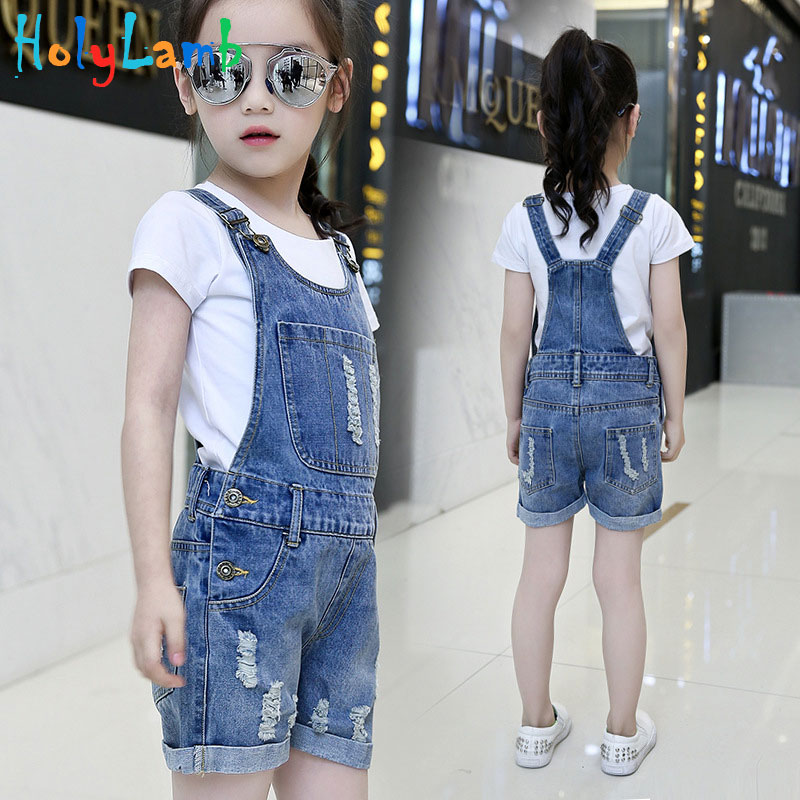 2019 Denim Overalls for Girls Jeans Shorts Children Clothes Summer Girls Jumpsuit Kids Trousers for Girls 2 4 6 8 9 10 12 Years
