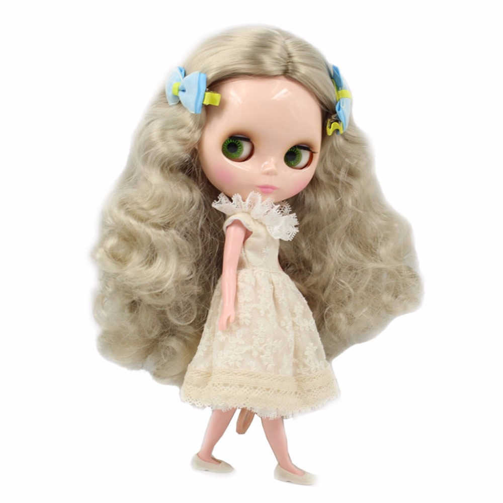 """Wig Scalp Long For Blyth Hair Doll Curly Gray Silver 12"""""""