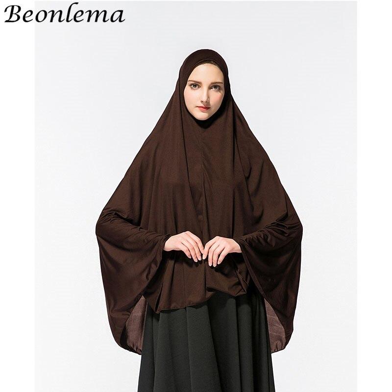 Beonlema Muslim Khimar Prayer Garment Hijab Caps Abaya Islamic Slik Telekung Women Clothing Sleeveless Fromal Long Shawl Turban