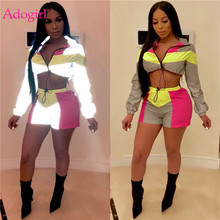 Adogirl Color Patchwork Reflective Two Piece Set Women Night Version Tracksuit Zipper Long Sleeve Short Jacket + Shorts Clubwear