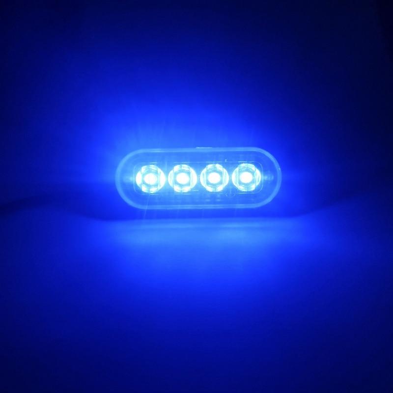 New 1pc 4 Led Strobe Warning Light Strobe Grille Flashing Lightbar Truck Car Beacon Lamp Amber Blue Red Traffic Light