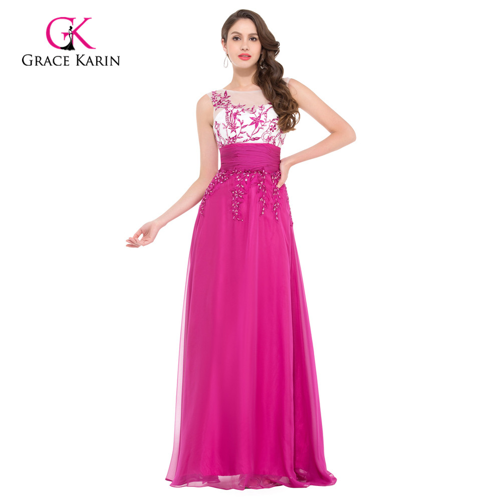 ᗕGrace Karin sin mangas largo elegante Rosa Vestidos de noche ...