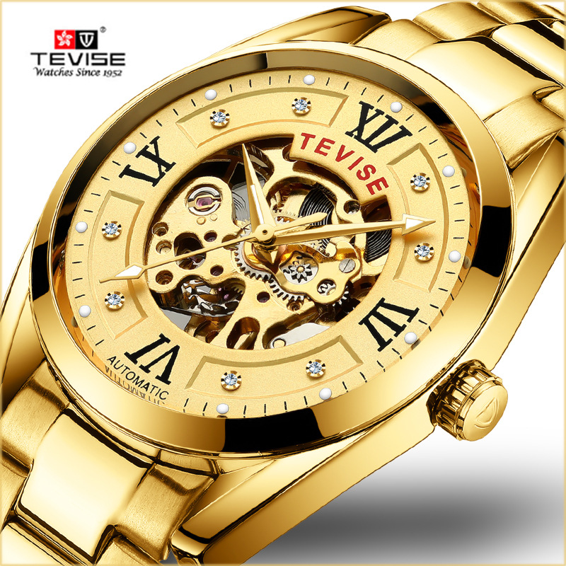 TEVISE Mens Watches Top Brand Luxury Automatic Watch Man Hollow Gold Wristwatch Mens Luminous Water Resistant Mechanical Watches цена
