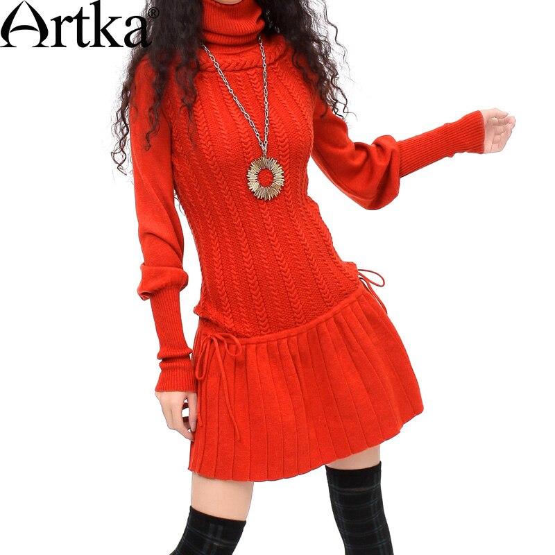 Artka المرأة ثلاثي الأبعاد الزهور مطوي ضئيلة الشتاء الصلبة خليط مرسرة الصوف فستان قطعة واحدة 3 YB12628D-في فساتين من ملابس نسائية على  مجموعة 1