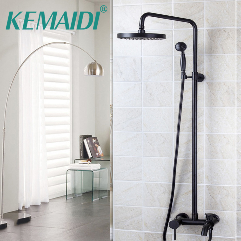 Bathroom Shower Set Oil Rubbed Bronze Wall Mounted Shower Faucet 8 Shower Head Mixer Tap Water Shower Set Waterfall Rain Faucet oil rubbed bronze square toilet paper holder wall mounted paper basket holder