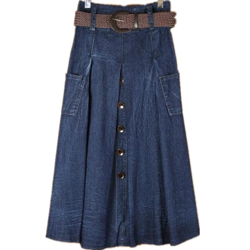Skirts Womens 2017 Loose Ladies Denim Skirts Long Sashes Women ...