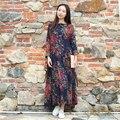 Plus tamaño de las mujeres vestidos de primavera de algodón de manga larga vestidos de una línea de otoño maxi dress shirtwaist étnico vestido longo robe 2 colores