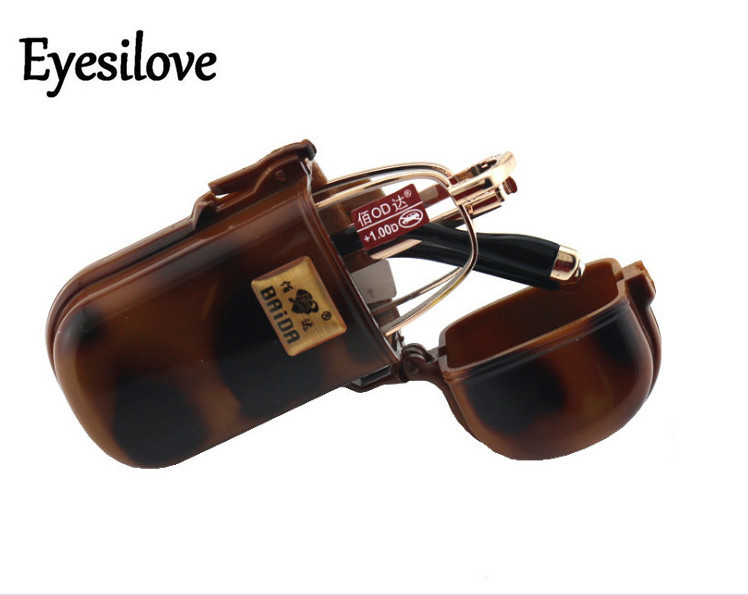 Eyesilove hombres mujeres metal plegable gafas de lectura lentes de cristal gafas de lectura plegable presbicia gafas de + 1,0 a + 4,0
