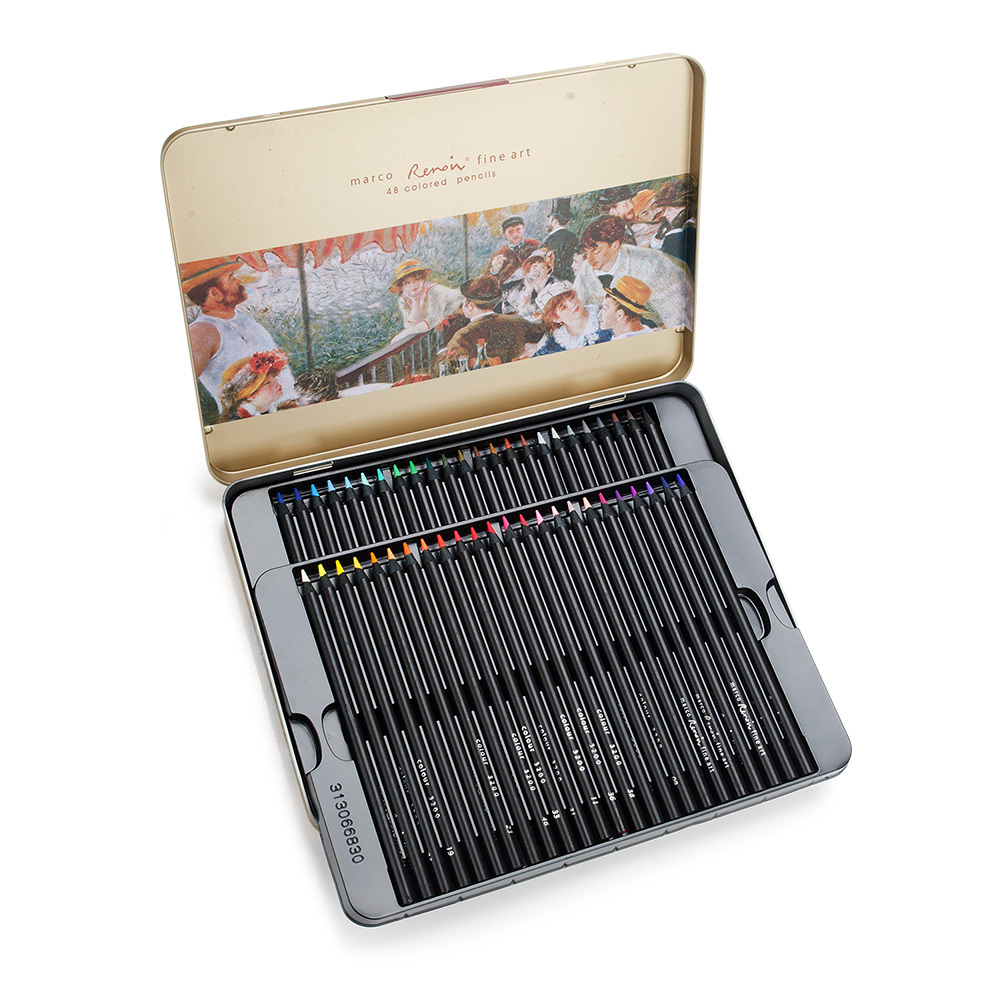Marco Renoir 3200-48TN Art Panting Pencils 48 Colored Set in Tim for Sketching Drawing Coloring