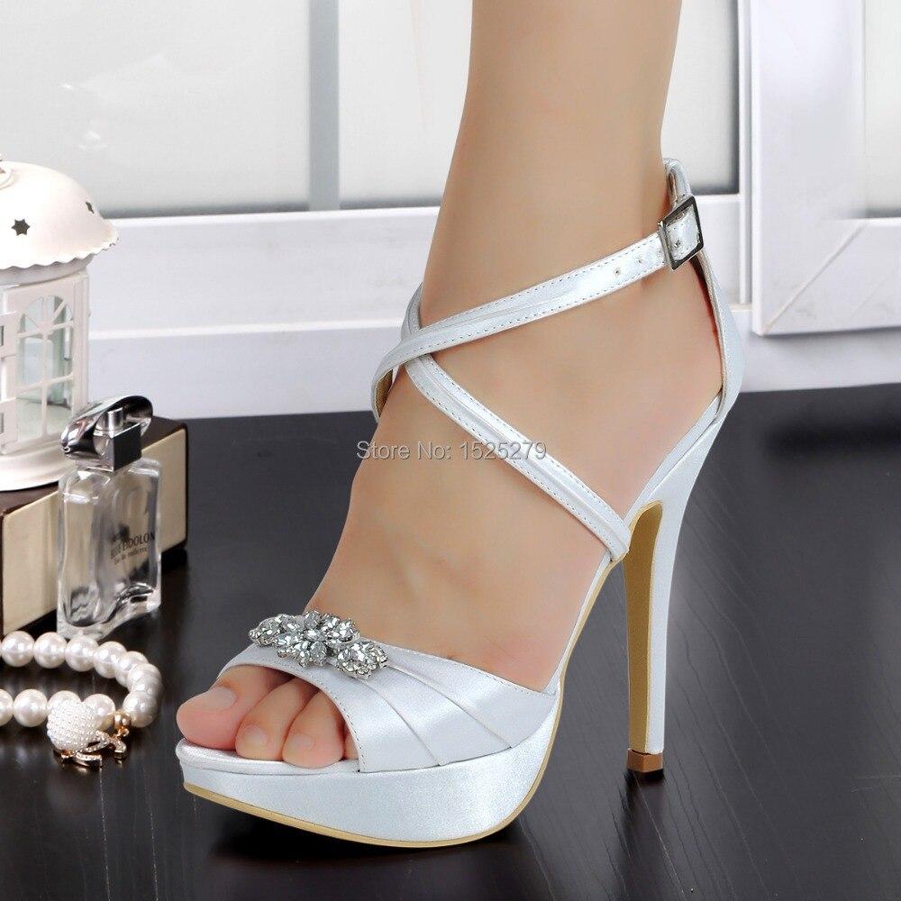 ФОТО EP2115-PF White Women Sandals Open Toe Bridal Prom Party Cross-strap Platform Rhinestones Pleat Satin Buckle Strap Wedding Shoes