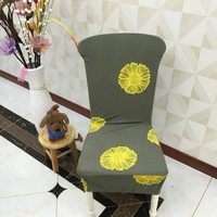 Spandex Chair Covers Deep Green Yellow Flower Pattern Polyester Elastic Chair Slipcovers For Living Room Decoration