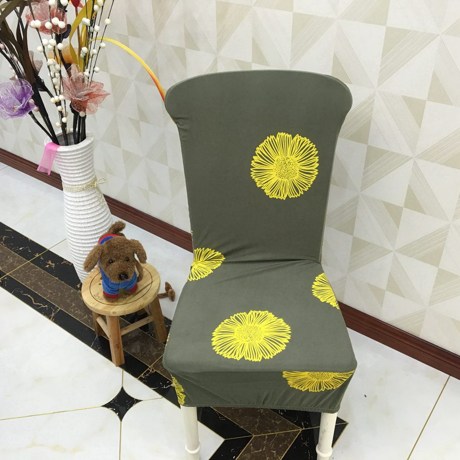 Spandex <font><b>Chair</b></font> <font><b>Covers</b></font> Deep Green Yellow Flower Pattern Polyester Elastic <font><b>Chair</b></font> Slipcovers for Living Room Decoration