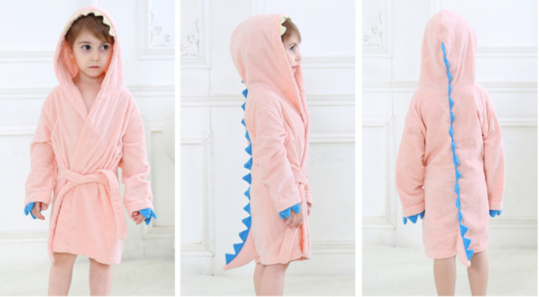 50f2dae2d6 MICHLEY Kids Bath Robes Adorable Baby Girl Roupao Hooded Children S ...