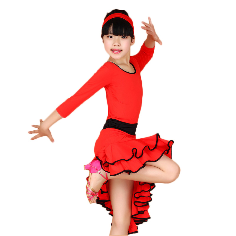 fabe702a54909 Girl Long Sleeves Latin Dance Dress Children Ballroom Dance Dresses Kids Salsa  Rumba Cha Cha Samba Tango Dress