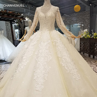 LS317741 champagne muslim ball gown wedding dresses high neck long sleeve open keyhole back can add lining floor length dresses