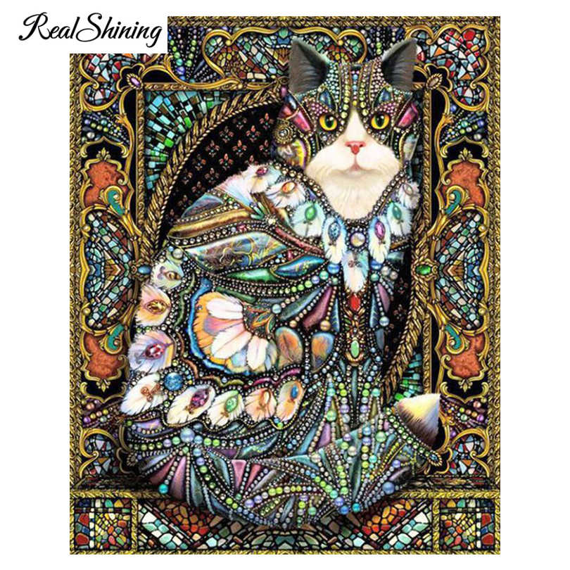 REALSHINING Full Square Diamond Embroidery 5D diy Diamond Painting Cross Stitch Mosaic Colorful Cat Home Decor Art FS499