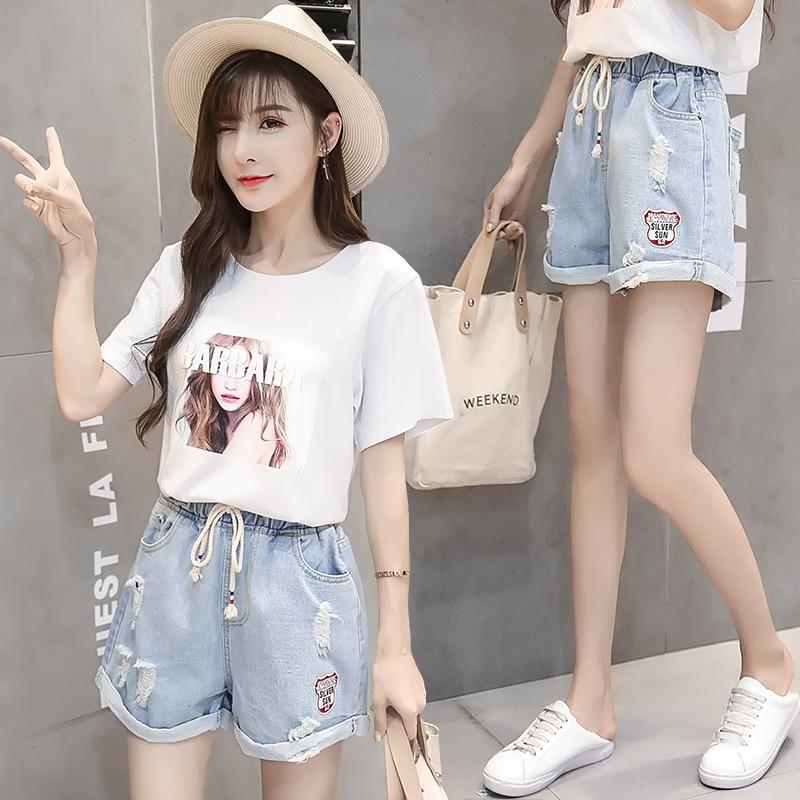 En Femmes Harajuku Grande Courts Droite Slim Décontracté Jean Jibaiyi Vintage Trou D'été Short Hanche Elastique Blue Sky Pantalons Taille AX7PnqBw