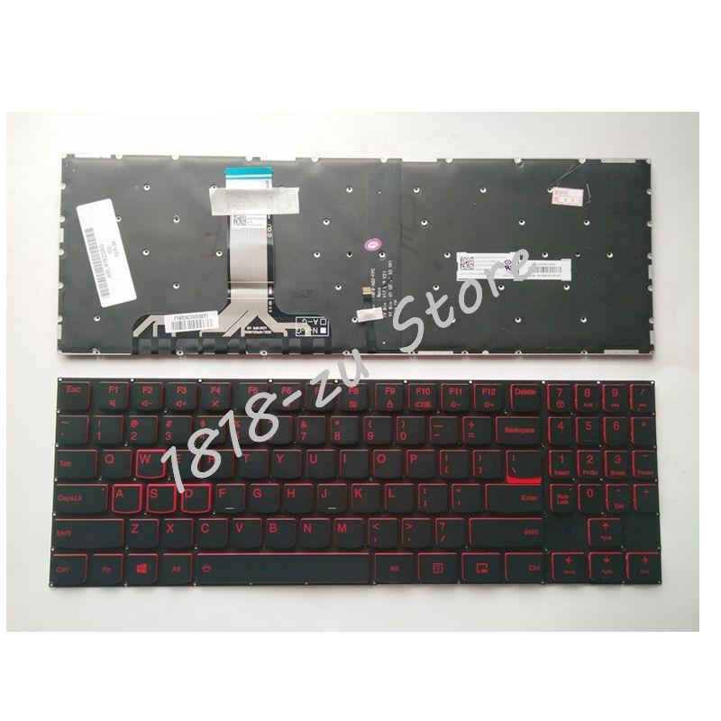 YALUZU nouveau pour Lenovo légion Y520 Y520-15IKB Y720 Y720-15IKB ordinateur portable anglais US noir clavier rétro-éclairé sans cadre mot blanc