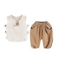 2 Pcs Sets Baby Boys Suit Kids Sleeveless T Shirt Shorts Top Pants Outfits Summer Toddler