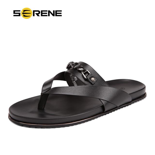 6d359fbb3d03b SERENE Cow Leather Sandals Men Black Flip Flops Casual Flat Sandals Summer  Beach Slipper Men Comfort Design Flip Flops Shoes2162