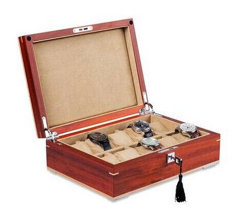 Structure en bois originale de luxe boîte de montre en bois à 10 grilles boîte de rangement de montre organisador pour montres MSBH007d