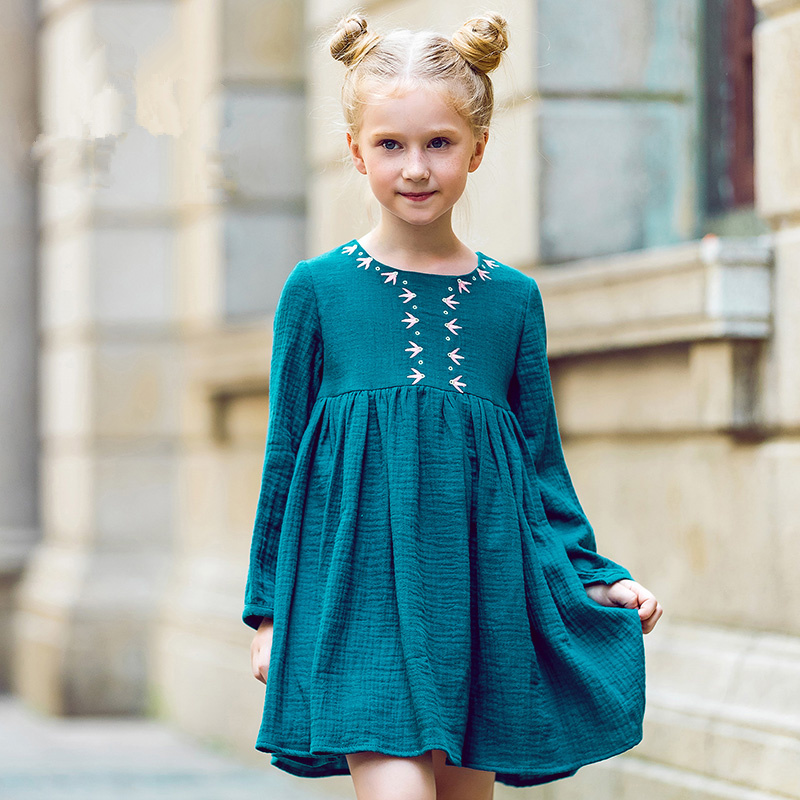 Kids Dresses for Girls Christmas 2017 Brand Princess Dress Autumn Embroidery Baby Girls Dress Children Clothing