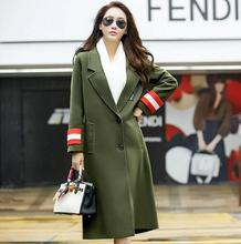 New autumn winter women's coat fashion elegant V-Neck Single-breasted overcoat female Slim long coat outwear T540